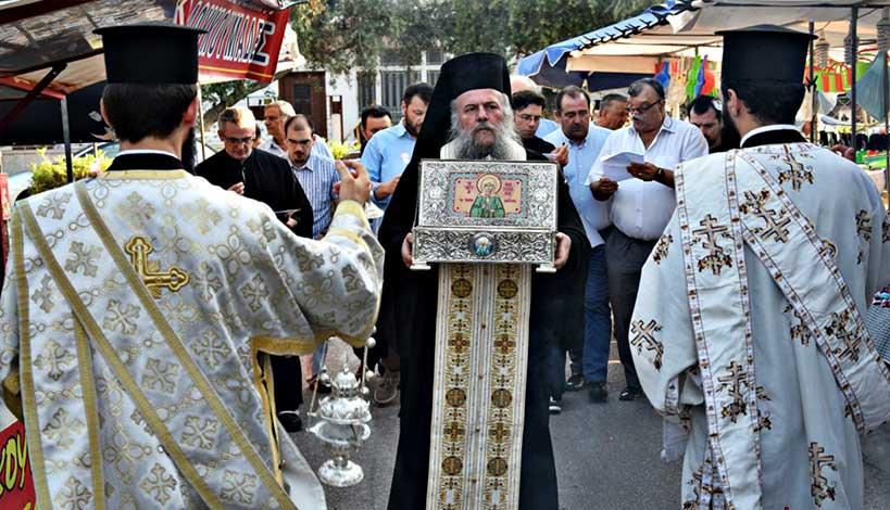 Περιστέρι : Tα ιερά λείψανα της Οσίας Ματρώνας της Αόμματης υποδέχθηκε Kλήρος και λαός