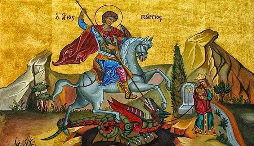 Ο Μάρτυς του Χριστού Γεώργιος, όταν έφτασε πλέον στον τόπο της καταδίκης, παρακάλεσε τους δήμιους να του αφήσουν λίγο χρόνο