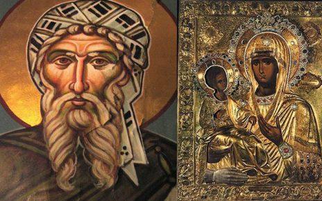 ΆγιονΌρος: Ο Άγιος Ιωάννης ο Δαμασκηνός και η Παναγία η Τριχερούσα
