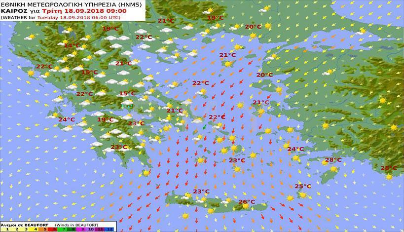 Με συννεφιά και ισχυρούς βοριάδες στο Αιγαίο ο καιρός σήμερα